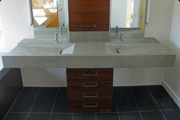 Floating Concrete Sink In Master Bathroom
